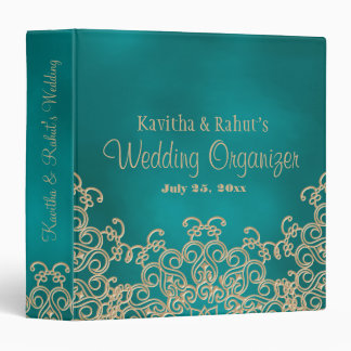 Teal and Gold Indian Style Wedding Organizer Vinyl Binder