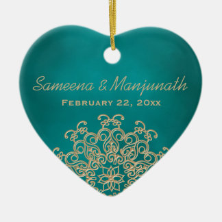Teal and Gold Indian Style Wedding Party Favor Ceramic Ornament