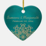 Teal and Gold Indian Style Wedding Party Favor Double-Sided Heart Ceramic Christmas Ornament