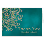 TEAL AND GOLD INDIAN STYLE WEDDING THANK YOU CARD