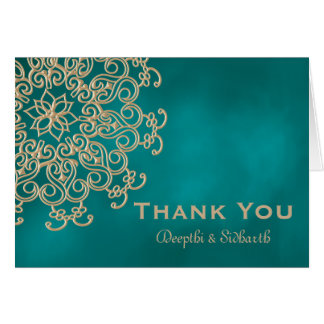 TEAL AND GOLD INDIAN STYLE WEDDING THANK YOU STATIONERY NOTE CARD