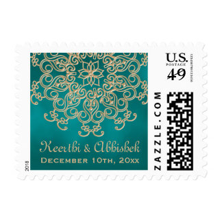 TEAL AND GOLD INDIAN WEDDING POSTAGE STAMPS