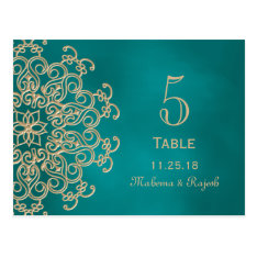 Teal And Gold Indian Wedding Table Number Card at Zazzle