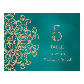 TEAL AND GOLD INDIAN WEDDING TABLE NUMBER CARD