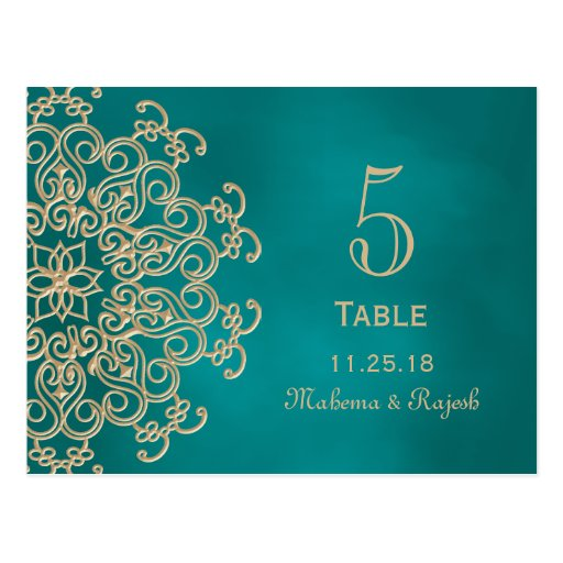 TEAL AND GOLD INDIAN WEDDING TABLE NUMBER CARD POST CARDS