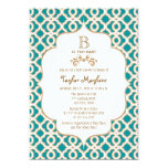 Teal and Gold Moroccan Baby Girl Baby Shower 5x7 Paper Invitation Card