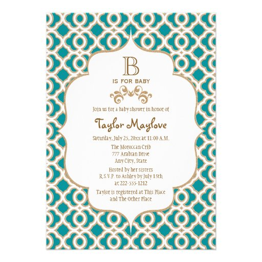 Teal and Gold Moroccan Baby Girl Baby Shower Announcement
