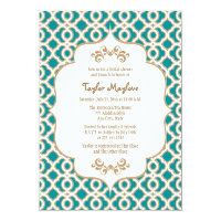Teal and Gold Moroccan Bridal Shower Invites