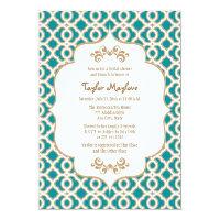 Teal and Gold Moroccan Bridal Shower Invites 5&quot; X 7&quot; Invitation Card (<em>$2.16</em>)