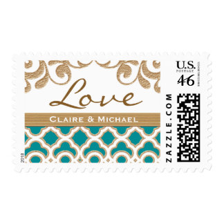 Teal and Gold Moroccan Love Wedding Postage Stamp