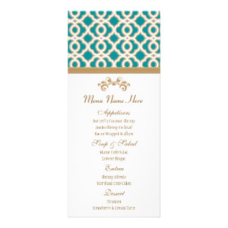 Teal and Gold Moroccan Menu Rack Card Template