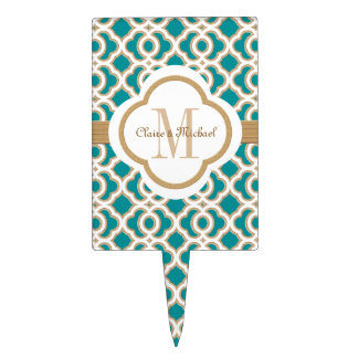 Teal and Gold Moroccan Monogram Couples Cake Picks