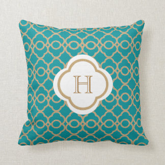 Teal and Gold Moroccan Monogram Throw Pillows