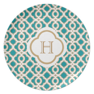 Teal and Gold Moroccan Monogram Plate