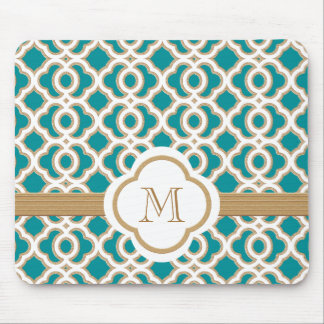 Teal and Gold Moroccan Monogrammed Mouse Pad
