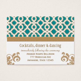 Teal and Gold Moroccan Reception Enclosure Card