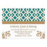 Teal and Gold Moroccan Reception Enclosure Card Business Card Templates