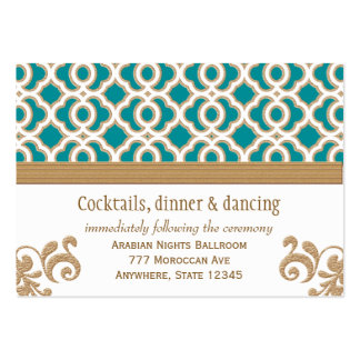 Teal and Gold Moroccan Reception Enclosure Card Large Business Card