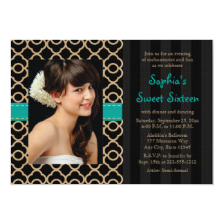 Teal and Gold Moroccan Sweet Sixteen Photo 5x7 Paper Invitation Card