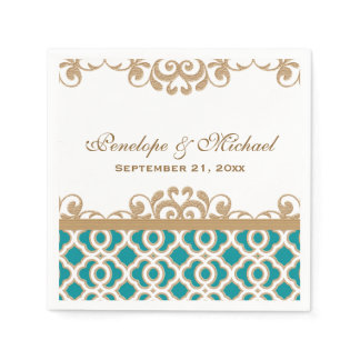 Teal and Gold Moroccan Wedding Napkin