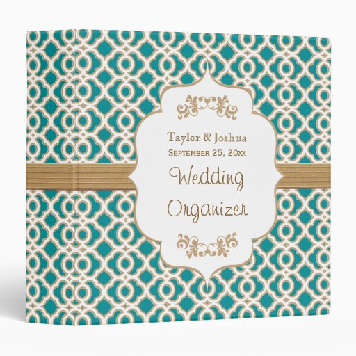 Teal and Gold Moroccan Wedding Organizer 3 Ring Binders
