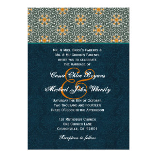 Teal and Gold Ornate Pattern Wedding H642 Custom Invitation