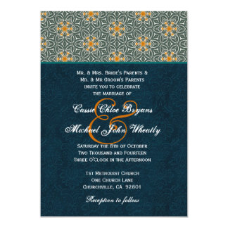 Teal and Gold Ornate Pattern Wedding H642 5x7 Paper Invitation Card