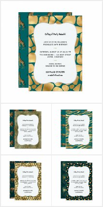 Teal and Gold Party Animals Any Age Birthday Suite