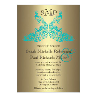 Teal and Gold Peacock Wedding Invitations