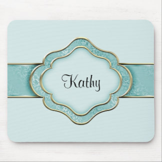 Teal and Gold Ribbon Mouse Pad