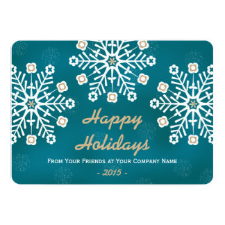 Teal and Gold Snowflake Corporate Holiday 5x7 Paper Invitation Card