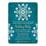 Teal and Gold Snowflake Corporate Holiday Party Card