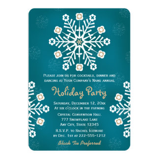 Teal and Gold Snowflake Corporate Holiday Party 5x7 Paper Invitation Card