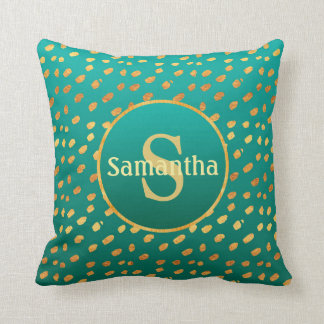 Teal and Gold Speckled Monogram Pillow