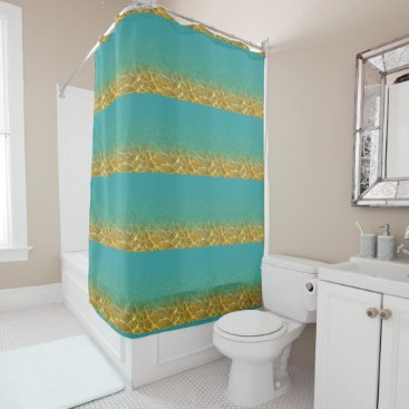 Beach Themed Teal and Gold Striped Water Ripple Shower Curtain