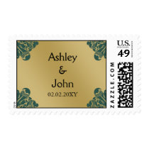 Teal and Gold Wedding Postage