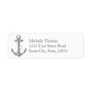 Teal and Gray Anchor Beach Wedding Return Address Label