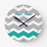 Teal and Gray Chevron Custom Name Round Clocks