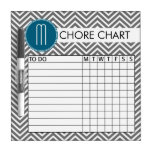 Teal and Gray Chevron Pattern Chore Chart Dry-Erase Board