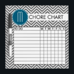 "Teal and Gray Chevron Pattern Chore Chart Dry-Erase Board<br><div class=""desc"">A popular design with stripes and zig zags and an area to add your initials. Trendy colors and popular patterns make this a modern and fun chore chart for kids. If you need to adjust the monograms,  click on the customize button and make changes.</div>"