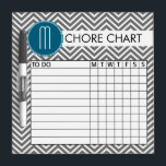 """Teal and Gray Chevron Pattern Chore Chart Dry-Erase Board<br><div class=""""desc"""">A popular design with stripes and zig zags and an area to add your initials. Trendy colors and popular patterns make this a modern and fun chore chart for kids. If you need to adjust the monograms,  click on the customize button and make changes.</div>"""
