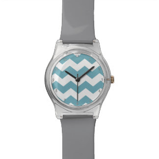 Teal and Gray Chevron Watch