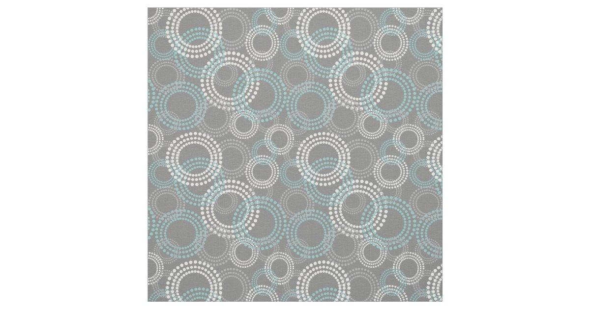 Teal And Gray Dots Circles Abstract Pattern Fabric