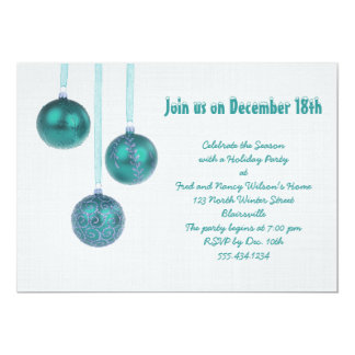 Teal and Gray Holiday Party Custom Invitations