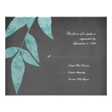 Teal and Gray Leaves Vintage Wedding RSVP Custom Invitation