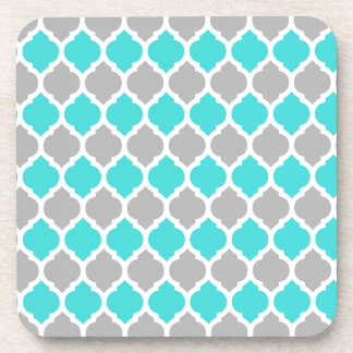 Teal and Gray Moroccan Lattice Drink Coaster