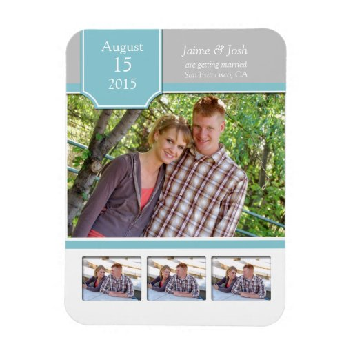 Teal and Gray Photo Save The Date Magnet