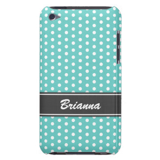 Teal and gray polka dots iPod case, aqua sea blue iPod Touch Covers