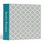 Teal and Gray Quatrefoil Pattern Recipe Binder