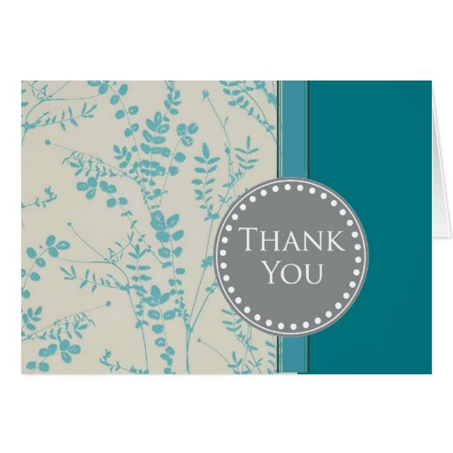 teal and gray thank you notes stationery note card